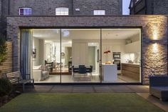Sliding doors in a kitchen extension
