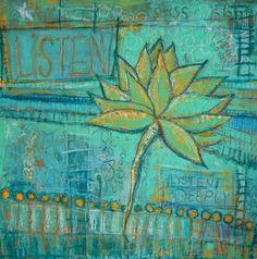 Ssssshhh...Listen Lotus Flower Giclee Print 12 x 12 by Gina Marie Dunn, UtopiaPkwyArtStudio, $30.00