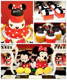Mickey + Minnie Mouse themed birthday party via Kara's Party Ideas