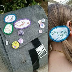 One more for Round 3 of the #StitchLoveAlong ! Here are Abby's requests! She wanted pins for her bag and she loves Nessie so much, she had to have her as a hair clip.  #wildolivestitching #wildolive #stitchlove #stitchlovebook #embroidery #handmade #pins #hairclip #nessie #platypus #manatee #fox