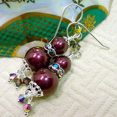 Burgundy Shell Pearl and Swarovski Crystal Sterling Dangle Earrings