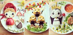 Mãe cria personagens com alimentos para divertir refeições das filhas