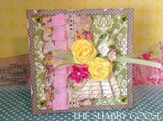 The Shabby Goose~card with yellow ribbon roses~pretty~shabby
