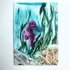 Encaustic Art -  Seahorse Violet £6.00 Encaustic Art, June, Artwork, Work Of Art, Auguste Rodin Artwork, Artworks, Illustrators