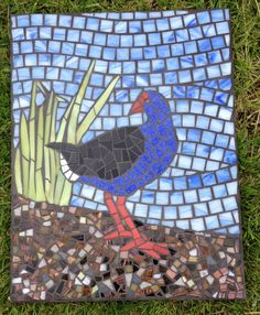 Yet another pukeko, made for a friend Stained Glass Paint, Stained Glass Projects, Mosaic Patterns, Mosaic Ideas, Picnic Blanket, Outdoor Blanket, Mosaic Birds, Mosaic Crafts, Cool Things To Make