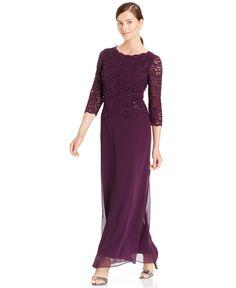 2de73db8ec8b Alex Evenings Elbow-Sleeve Sequined Lace Gown - Dresses - Women - Macy's  Alex Evenings