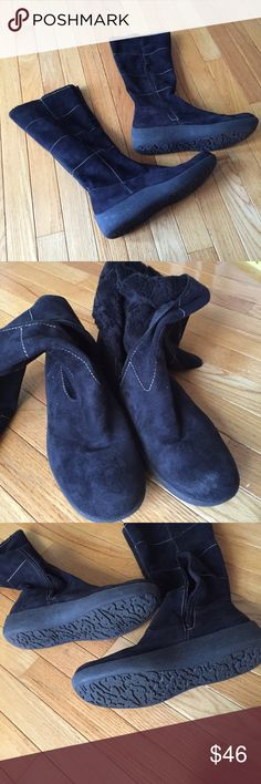 """Franco Sarto wedge boots Sz 10 """"Fur"""" lined suede like 1.5"""" wedge boots. Great stitching detail with inside partial zipper.  Shaft approx. 14 3/4"""" with approx 15"""" calf. Lightweight and perfect for transition to cold weather. Slight scuff on front. Smoke free. e Franco Sarto Shoes Combat & Moto Boots"""