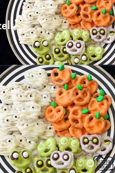 Halloween Pretzels made into 3 spooky treats- Pumpkins, Mummies & Aliens. Use chocolate & candy to create these festive Halloween Pretzels. #halloween #chocolate #candy #pumpkin #mummy #alien Simple Halloween recipe from BUTTER WITH A SIDE OF BREAD
