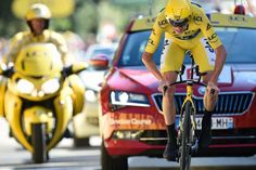 Chris Froome fights to the finish during the stage 13 time trial at the Tour de France.