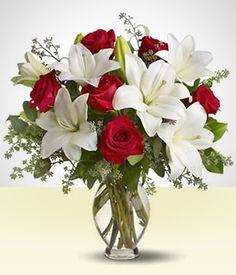 Lírios - De Paixão: Lírios rosas e Rosas vermelhas no vaso PEQ