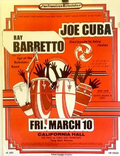 Poster art for a live show by jazz musicians Ray Barretto and Joe Cuba at the California Hall, United States, by Ruben Raul Guzman. Harlem History, Shakira Belly Dance, Puerto Rican Music, Tap Dance Quotes, Musica Salsa, Baile Latino, Salsa Music, Latin Dance Dresses, Dance Humor