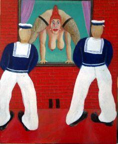 Just hanging around - oil on panel - ©Henk van Merkom - 1994 - 21x26cm