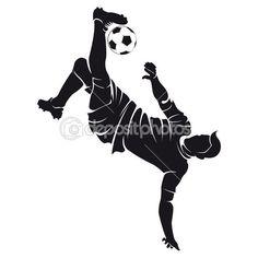 Silueta de jugador de fútbol (soccer) Vector con bola aislado en blanco