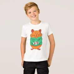 Cute hamster holding cup of coffee T-Shirt - click/tap to personalize and buy