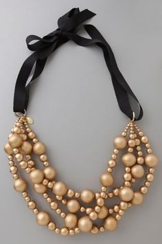 Gold Wood Bead Necklace (the other way wood beads look cool -- when they are shimmery)