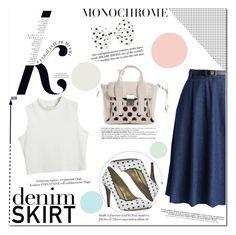 """Denim Skirt"" by aminkicakloko ❤ liked on Polyvore featuring Chicwish, KAROLINA, 3.1 Phillip Lim, Chicnova Fashion, women's clothing, women, female, woman, misses and juniors"