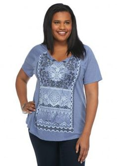Kim Rogers  Plus Size Tassel Tie Knit Top
