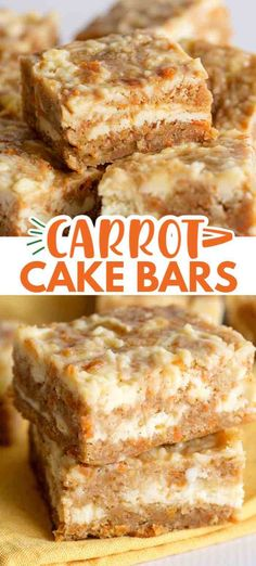 Carrot Cake Bars - These carrot cake bars are so moist and delicious! They have a sprinkle of cinnamon and a cheesecake swirl in them. They're the perfect Easter dessert bars. #easterrecipes #easter #bars #desserts #dessertfoodrecipes #dessertrecipes #desserttable #dessertideas #cookiedoughandovenmitt Dessert Simple, Bon Dessert, Easy Dessert Bars, Desserts Ostern, Köstliche Desserts, Dessert Recipes, Cupcake Recipes, Carrot Cake Bars, Carrot Cake Cheesecake