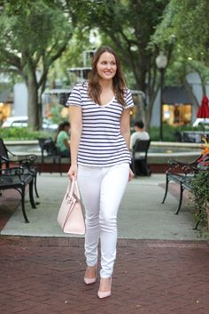 Kelly Elizabeth Style: striped tee: Nordstrom; white skinny jeans: Avedon by Citizens of Humanity; blush pink satchel: Kate Spade; blush pink heels: Dorothy Perkins