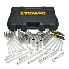 This DEWALT 204 Piece Mechanics Tool Set equips you with everything you will need for the job. This Mechanic Set is ideal for the Professional on the job that wants to get the job done right. The Guaranteed Socket Wrench Set, Socket Set, Dewalt Combo, Dewalt Tools, Mechanic Tools, Impact Driver, Tool Set, Hand Tools, Diy Tools