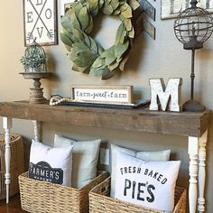 Inspiring for Rustic Living Room Wall Decor Design - My Little Think Wall Decor Design, Table Design, Room Wall Decor, Entryway Wall Decor, Bedroom Wall, Master Bedroom, Farmhouse Wall Decor, Farmhouse Chic, Country Decor