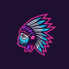 Cool indian tribe with gas mask illustration Premium Vector Team Logo Design, Logo Desing, Mascot Design, Logo D'art, Gem Logo, Sports Team Logos, Indian Tribes, Retro Logos, Logo Sticker