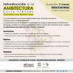 """FLACAM   INTRODUCCIÓN A LA AMBITECTURA  El Foro Latinoamericano de Ciencias Ambientales abre la inscripción al curso virtual """"Introducción a la Ambietectura"""" coordinado por el arquitecto Rubén Pesci.  Inicio: martes 2 de mayo 2017.  Más info: http://ly.cpau.org/2oGm2s2  #AgendaCPAU #RecomendadoARQ"""