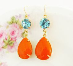 Vintage Tangerine Orange Teardrop Jewel and Aqua Blue Glass Rhinestone Glamour Dangle Earrings