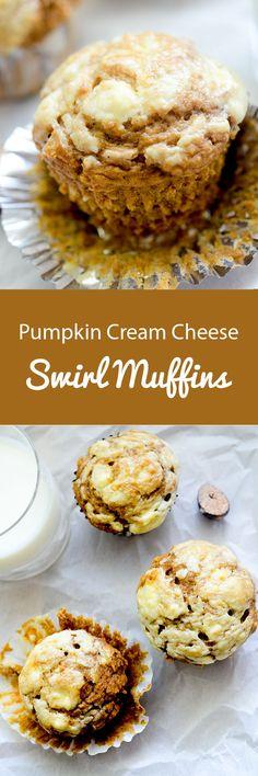 Pumpkin Cream Cheese Swirl Muffins - Recipe Diaries 6 Smart Points per serving