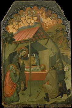 The Adoration of the Shepherds, 14th century  Bartolo di Fredi (Italian, Sienese, active 1353, died 1410)  Italian; Made in Siena  Tempera on wood, gold ground, arched top