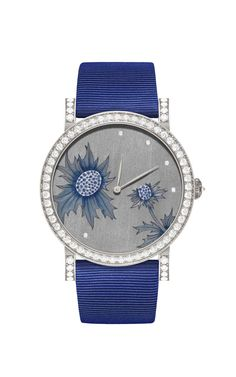 One-of-a-kind automatic DeLaneau Rondo Chardon automatic watch in white gold, with a Grand Feu enamel and hand-engraved face, set with blue sapphires and diamonds.