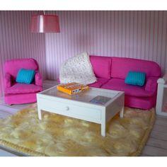 Różowa kanapa do domku dla lalek fufurufu