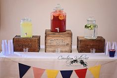 Drink station at a Circus Party #circusparty #drinks