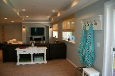 Basement Design, Pictures, Remodel, Decor and Ideas - page 104 Home Diy, Turner House, Living Room Colors, Family Room, Favorite Paint Colors, Finishing Basement, Home Decor, Home Deco, Blue Interior