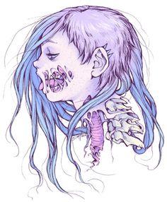 Pastel Gore Girl Art Print by Savannah Horrocks Zombie Drawings, Art Drawings, Gothic Kunst, Pastel Goth Art, Illustration Art, Illustrations, Poses References, Wow Art, Creepy Cute