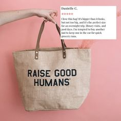 """Sarah Komers on Instagram: """"Have you grabbed yours yet? Our #raisegoodhumans jute totes are the summer staple you didn't know you needed, 🛍 perfect for beach hangs,…"""" Pool Days, Be A Nice Human, Summer Of Love, Jute, Culture, Tote Bag, Mom, Beach, Instagram"""