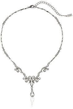 b3d69b226a85 1928 Jewelry Crystal Teardrop Y-Shape Necklace