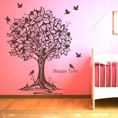 Made in US-Free Custom Color-PopDecals Products-Happy tree and birds - removable vinyl art wall decals murals home decor by popdecals, http://www.amazon.com/dp/B00584HUHY/ref=cm_sw_r_pi_dp_-5gIpb1ZBYMJE