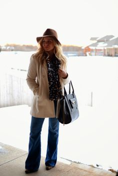 outfit idea || cream coat + mustard sweater + printed scarf + brown floppy hat + flare jeans + leopard print boots