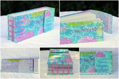Last, but not least for today, is a book that started with a Gelli® print and then got some mixed media love – additional stenciling (the old-fashioned way), some doodling, a little sewing and I was completely in love!  Added the magnetic closure that I love so very much and finished with a paired needle coptic stitch (again from Alisa Golden's great book).  This is another mini-book, measuring just 2.5″ x 6.5″, that I filled with the cut-offs from book 20/100 from last post – so 140lb…