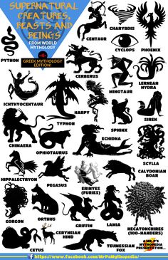 A collection of ancient Greece's most amazing mythological creatures!  #Creatures #GreekMythology #AncientGreece #Monsters #Mythology #Infographic #MrPsMythopedia  https://www.facebook.com/MrPsMythopedia/