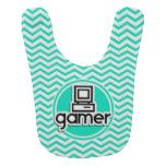 Gamer; Aqua Green Chevron Baby Bibs http://www.zazzle.com/gamer_aqua_green_chevron_baby_bibs-256171775478424883?rf=238756979555966366&tc=PtMPrssKMTkidsbby Funny Gamer design on  aqua, turquoise green and white chevron stripes  pattern.  Great gift for geeks, nerds, and gamers.  Features the word gamer with a computer, video game.