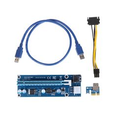 Stock riser card USB3.0 6Pin PCI-E1X to 16X Extender Graphic Card Adapter Cable with sata 15pin to 6pin power cable for Mining