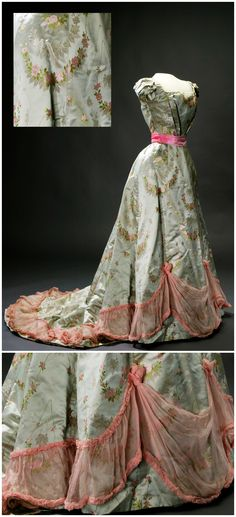 Evening dress, Börre & Lorenzen & Co, n.d. Belonged to Princess Ingeborg, Duchess of Västergötland (1878-1958). Dress of pale blue-green, almost gray, silk satin with woven bright pink and pale pink roses. Square neckline front and rounded deep neckline at the back. Livrustkammaren (The Royal Armory) / Göran Schmidt (link: https://commons.wikimedia.org/wiki/File:Prinsessan_Ingeborgs_aftonkl%C3%A4nning_(B%C3%B6rre-Lorenzen_%26_Co)_-_Livrustkammaren_-_22495.tif). CLICK FOR LARGER IMAGES.