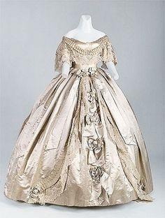 "Worth & Bobergh Evening Gown, PARIS  1861. Silk satin, silk ribbon, handmade ""Point de Gaze"" lace"
