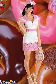 WHITE PINK DONUT COP COSTUME @ Amiclubwear costume Online Store,sexy costume,women's costume,christmas costumes,adult christmas costumes,santa claus costumes,fancy dress costumes,halloween costumes,halloween costume ideas,pirate costume,dance costume,cos