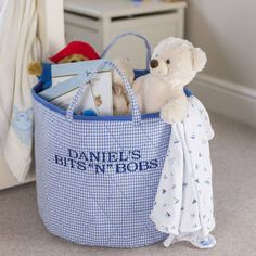 Toy storage solutions to help you get organized! These 10 genius toy storage tips will solve all your toy storage dilemmas. Toy storage solutions to help you get organized! These 10 genius toy storage tips will solve all your toy storage dilemmas. Nursery Storage Baskets, Childrens Toy Storage, Toy Storage Solutions, Toddler Themes, Toy Basket, Personalized Gifts For Kids, Fabric Toys, Blue Gingham, Blue Bags