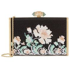Judith Leiber Tall Slender Floral Clutch (166.300 UYU) ❤ liked on Polyvore featuring bags, handbags, clutches, party purses, structured handbags, structured purse, floral print purse and sparkly purses