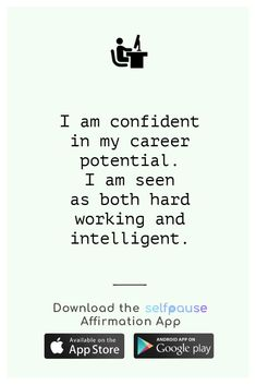 A simple way to choose, listen to and create positive affirmation all in one place.  Get the Selfpause app to listen to thousands of affirmations and record your own. #jobaffirmation #careeraffirmation #workaffirmation #successaffirmation #dailyaffirmation Career Affirmations, Positive Affirmations, Simple Way, Confidence, Interview, Positivity, Goals, Key, Create
