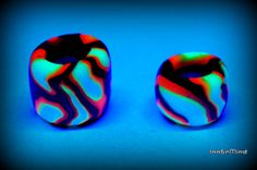 Set of two earth tones tribal fire clay uv blacklight by InnerMind, €4.95